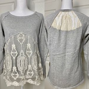 Maurices Gray and Cream Lace Raglan Sleeve Top